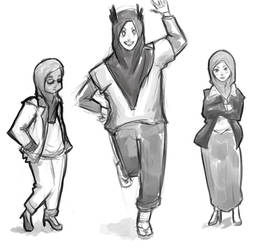 Doodles of Random Muslim Girls