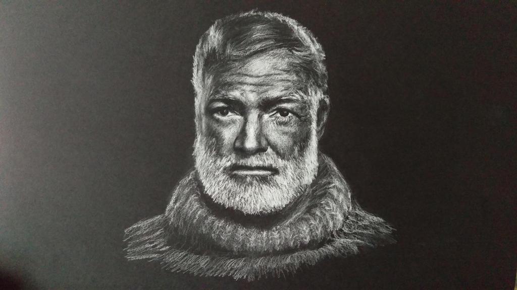 White charcoal drawing of Hemingway on black paper by akarudsan