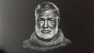 White charcoal drawing of Hemingway on black paper