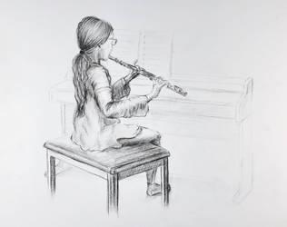 Anna playing flute by akarudsan