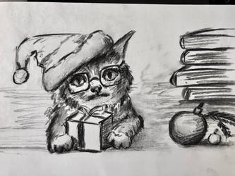 Christmas Librarian Kitten by akarudsan
