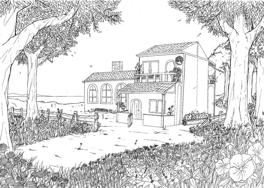 Line Art House : Blue house line art by emanuelbraga on deviantart