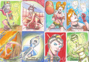 DC Bombshells Sketch Cards by EmanuelBraga