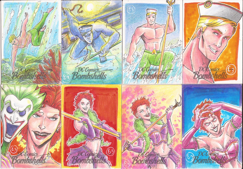 DC Bombshells Sketch Cards by EmanuelBraga