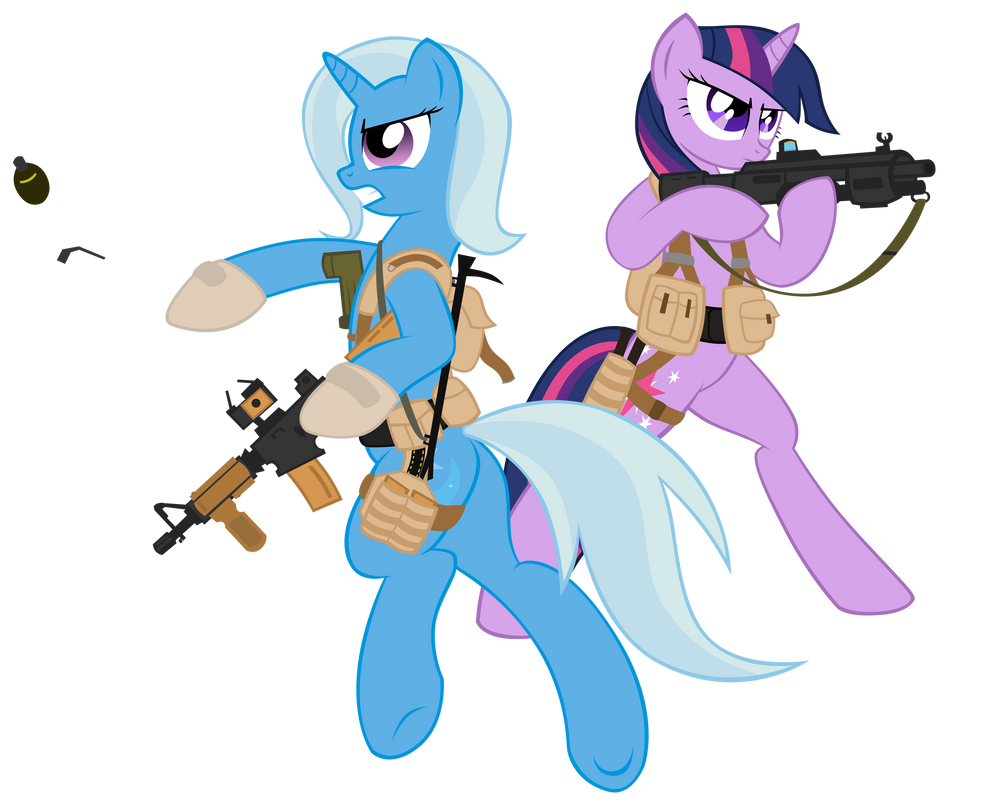 trixie and twilight combat engineers by shadawg