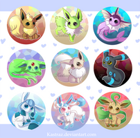 Eeveelution Buttons Set [Shiny Version] by Vultureen