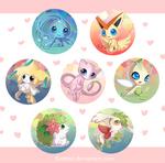 Legendary Pokemon Button Set by Vultureen