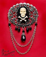 Pirate Skull Cameo Brooch by Valerian