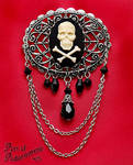 Pirate Skull Cameo Brooch