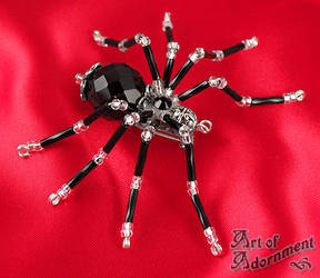 Gothic Crystal Spider Pin by Valerian