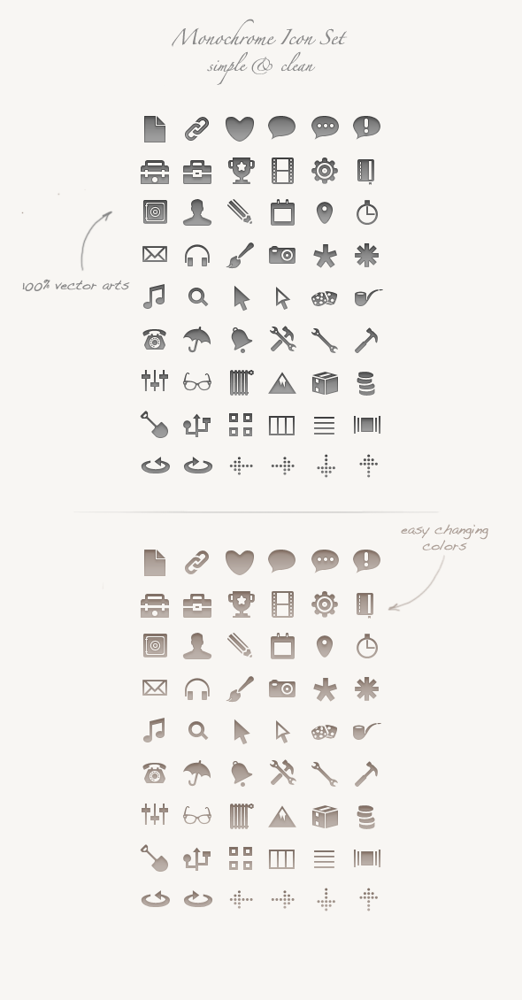 Monochrome Icon Set by okidoci