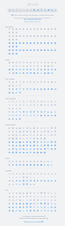 Aircons Icon Set - Clean and modern glyphs
