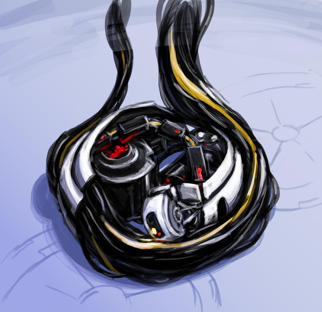 Curled up GLaDOS by DeepChrome