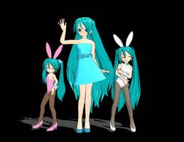 MMD Chibi Bunny Mikus and Miku by VocaloidxMMDMiku
