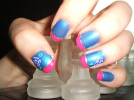 Blue with Purple Roses and Pink Tips by lettym