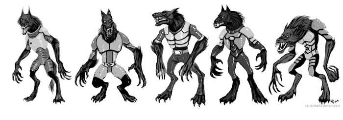 Armored Wolves Devlopment Sketches