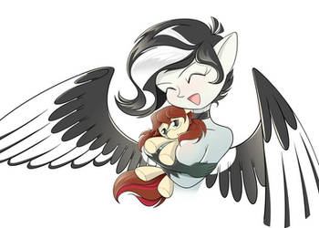 Magpie with a plush toy by Dream-Weaver-pony
