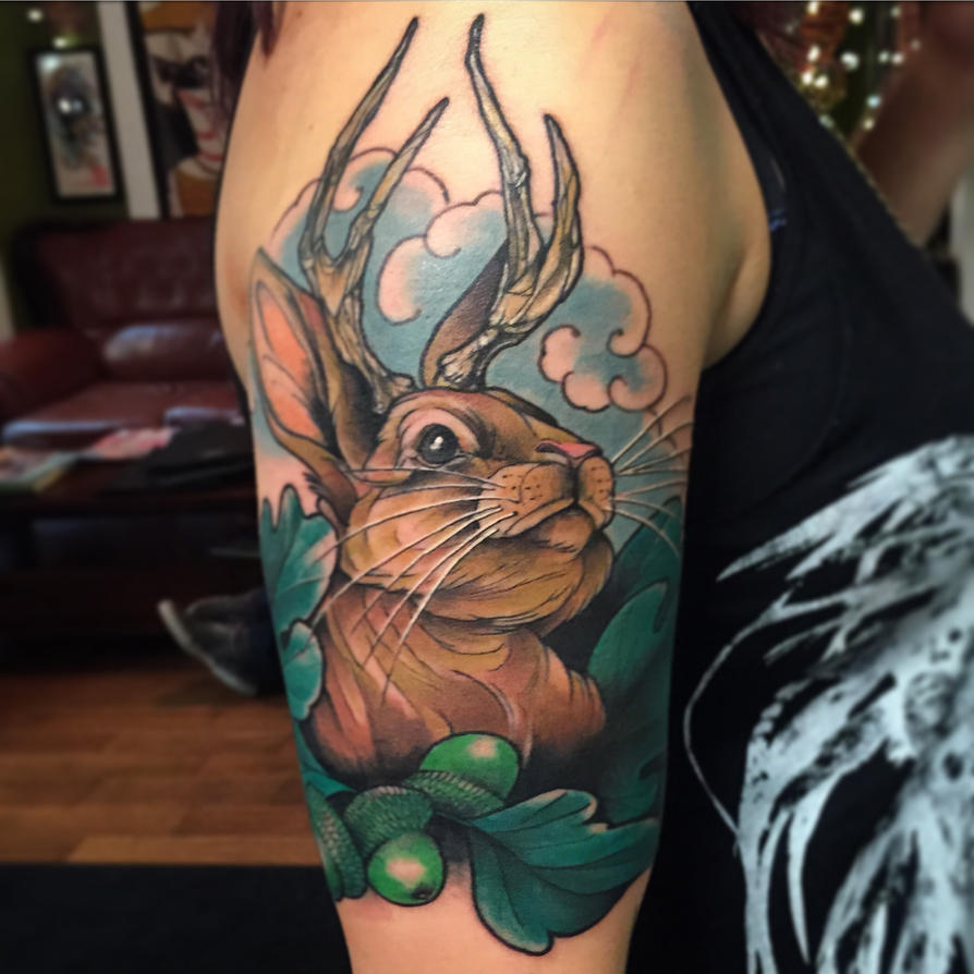 jackalope tattoo by dicknosetengu on deviantart