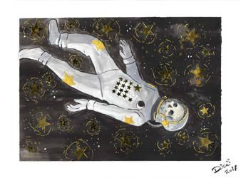 Inktober: Astronaut by Jellyfishbubblez