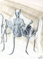 Inktober: Arachne by Jellyfishbubblez