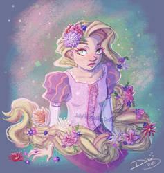 Rapunzel and Flowers by Jellyfishbubblez