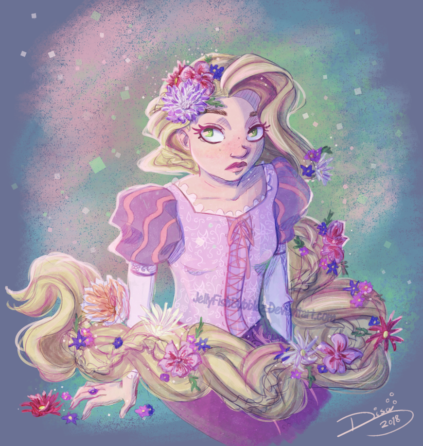 Rapunzel and Flowers by Jellyfishbubblez