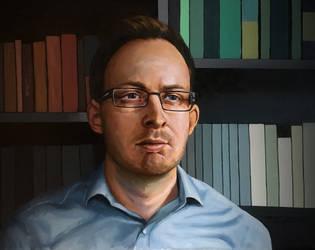 Self portrait with books
