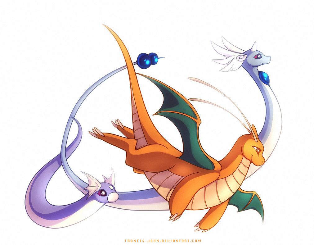 Dragonite Dragonair and Dratini by francis-john on DeviantArt  Dragonite Drago...
