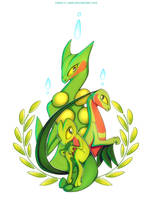 Treecko Grovyle and Sceptile by francis-john