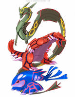 Rayquaza Groudon and Kyogre by francis-john