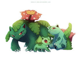 Venusaur Bulbasaur and Ivysaur by francis-john