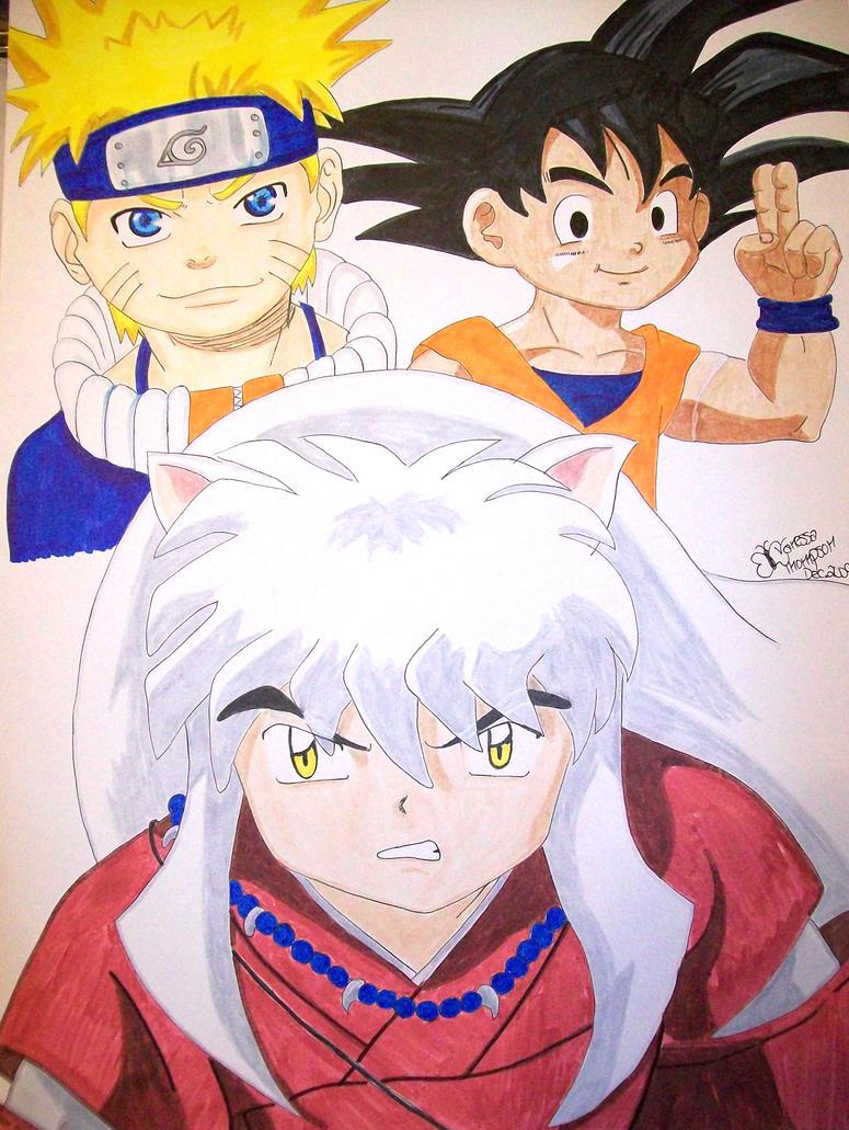 Naruto, Kid Goku, and Inuyasha by Vanessa-J-Thompson on DeviantArt
