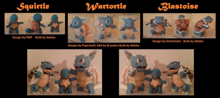 Squirtle Wartortle Blastoise by Adisko