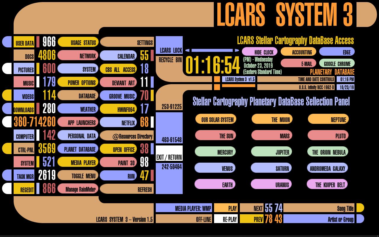 Planetary Database Selection Panel