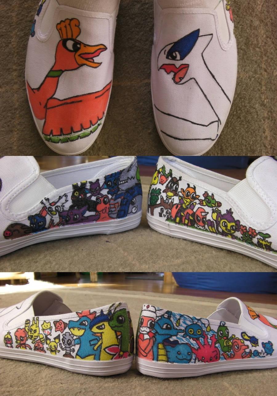 Johto Pokemon Shoes by JimmyJamJemz