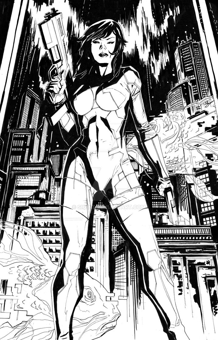Ghost in the Shell BW by Sigint