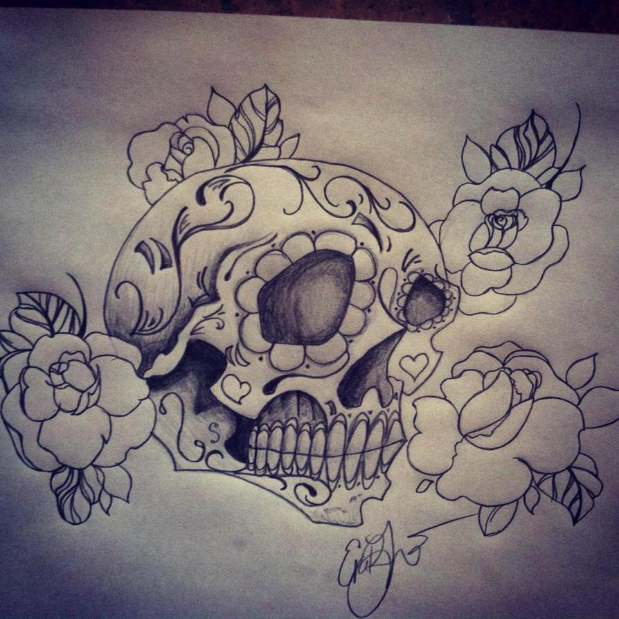 Sugar Skull (new school) by scubbasteveCx on DeviantArt
