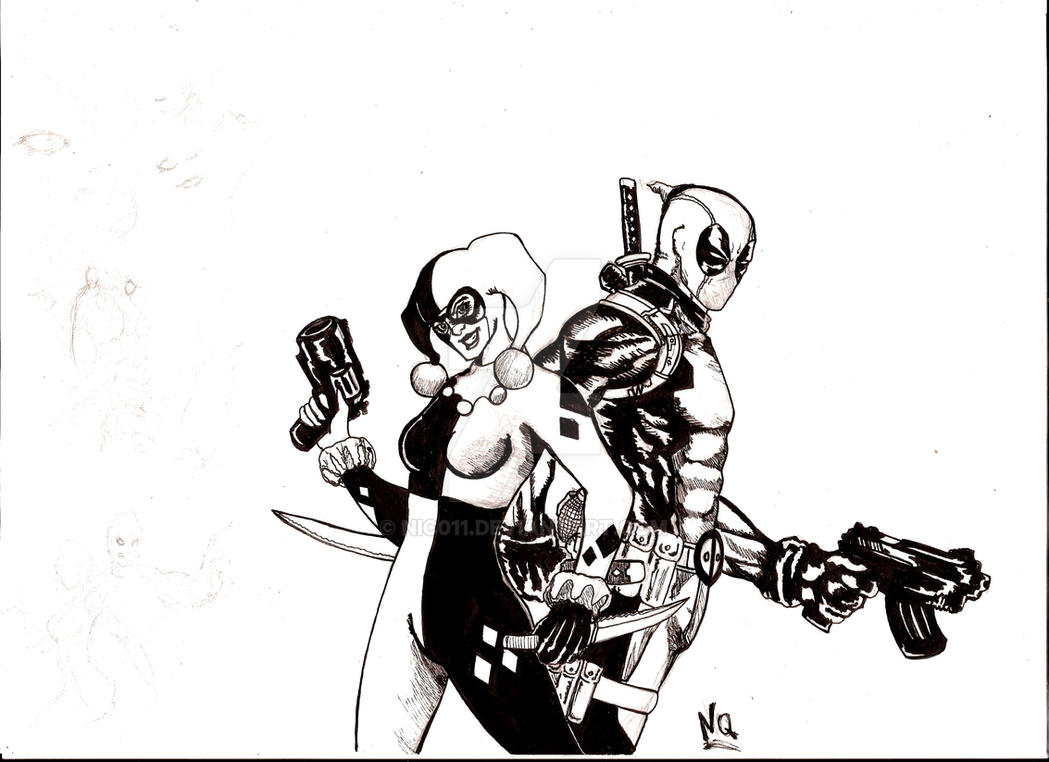 deadpool and harley queen by nic011
