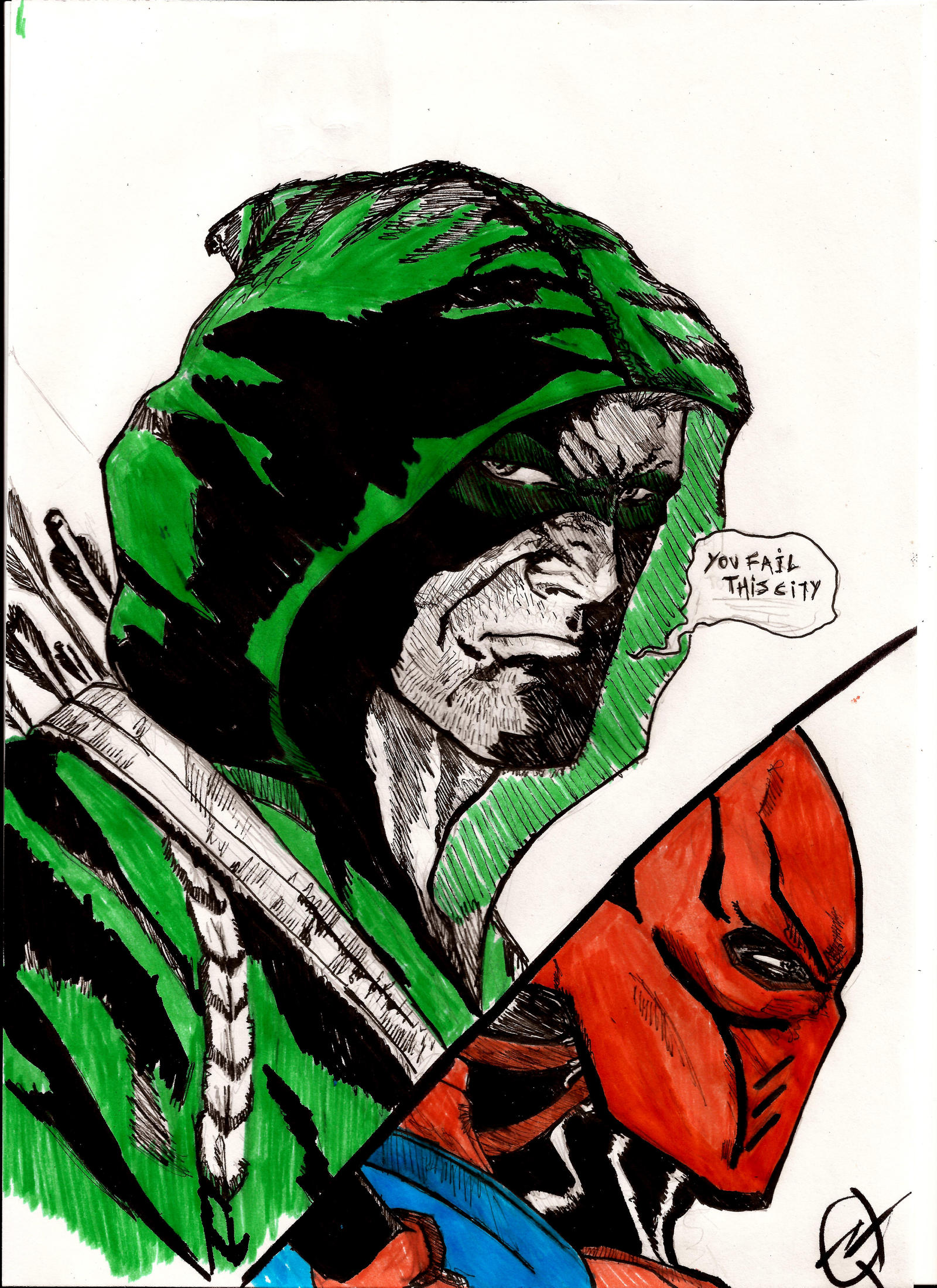 You Fail This City..Green Arrow Quick Doodle by nic011