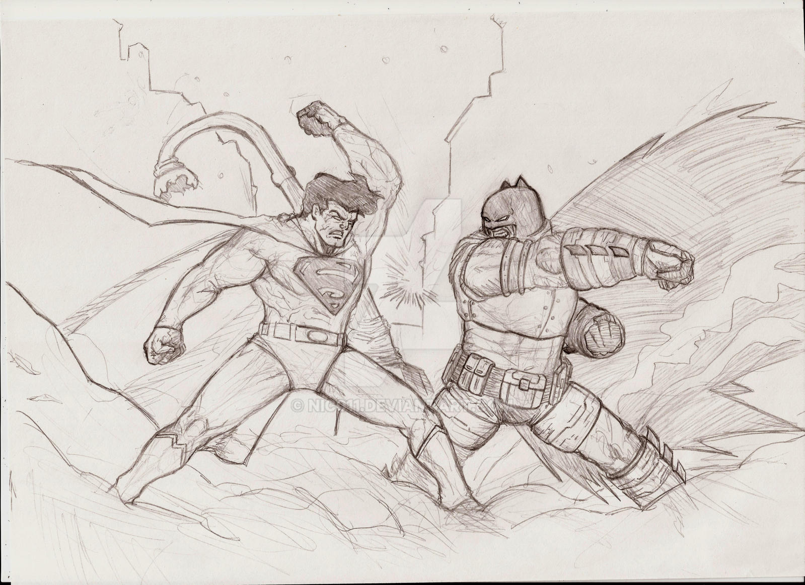 The Dark Knight Return batman vs superman by nic011