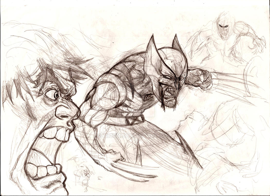 quick sketch Hulk wolverine by nic011