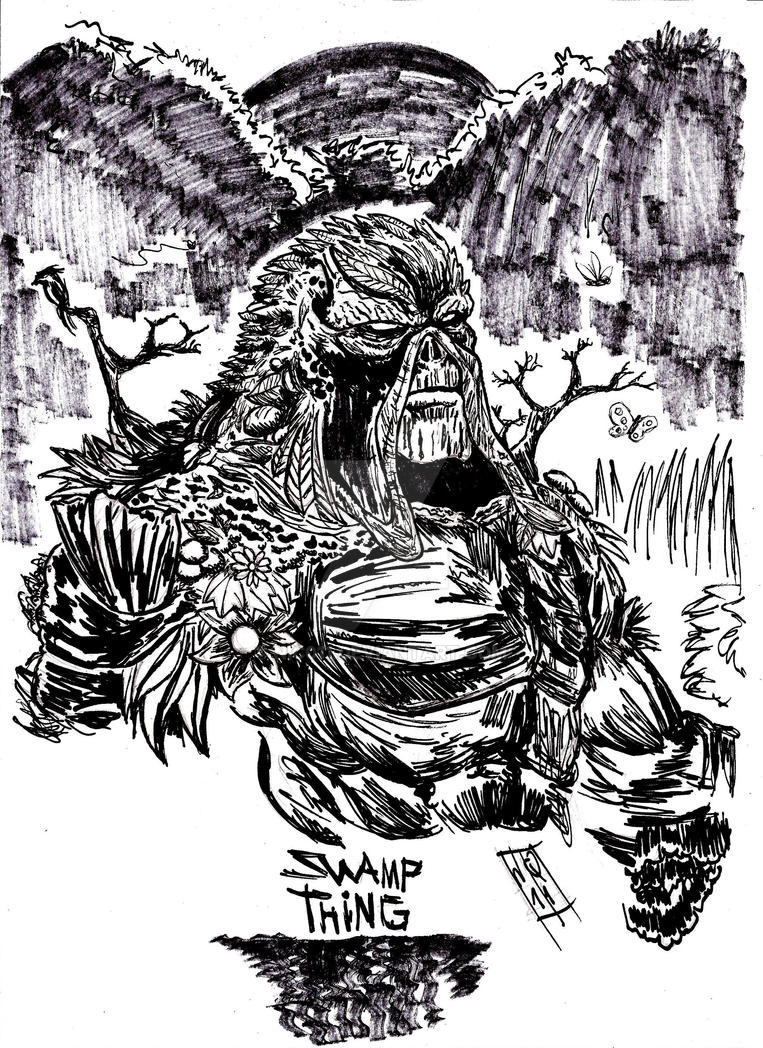 Swamp Thing inktober day 2 by nic011