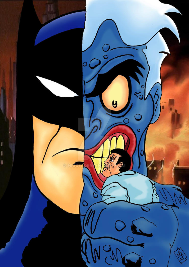 Two Face batman TAS plus background by nic011