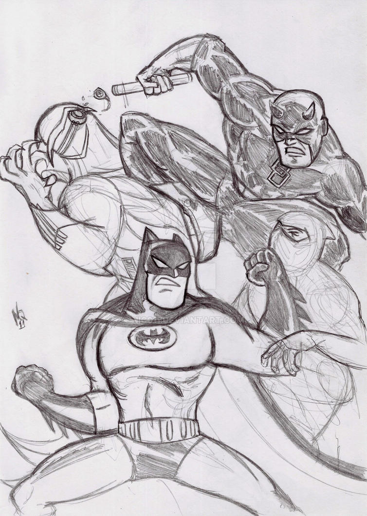 Daredevil and batman by nic011