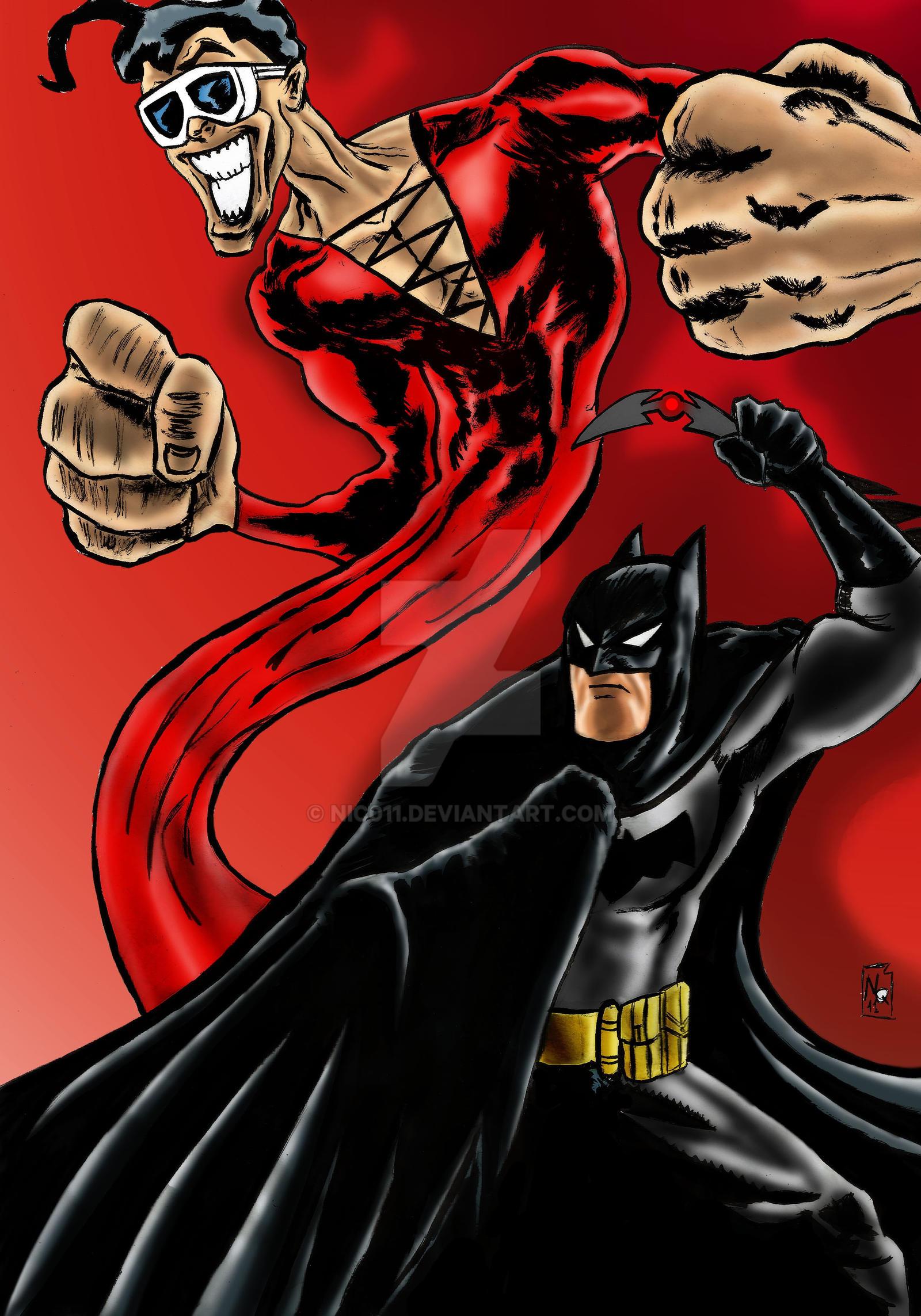 Batman VPlasticman by nic011