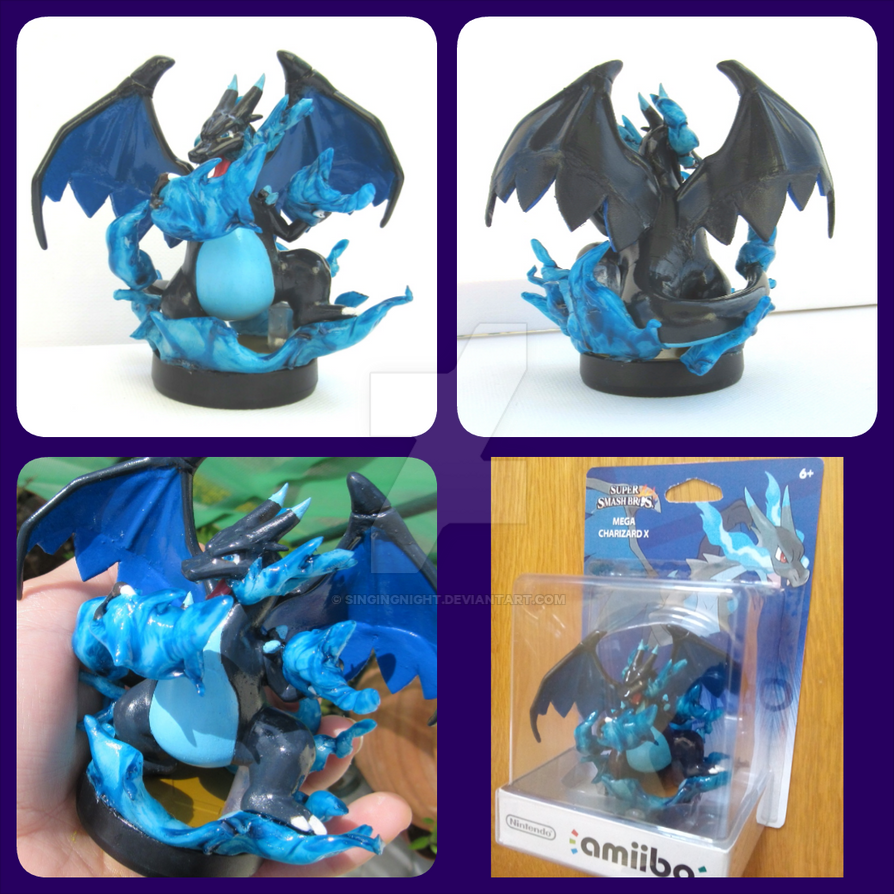mega charizard X amiibo custom by SingingNight