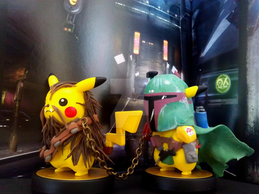 custom amiibos- Boba Pika and Pikabacca by SingingNight