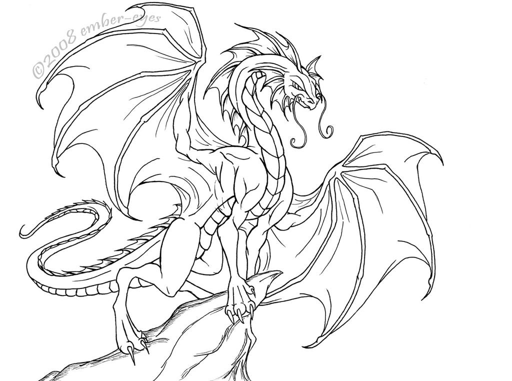 Dragon Lineart : Regal dragon lineart by ember eyes on deviantart