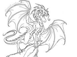 Regal Dragon Lineart