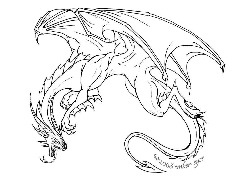 Line Art To Color : Fierce dragon by ember eyes on deviantart